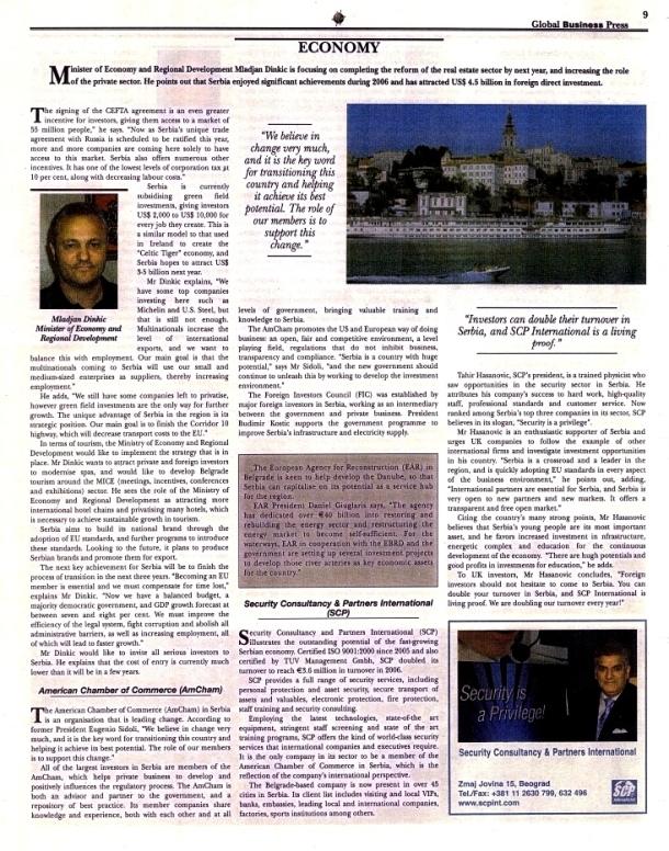 Tahir Hasanovic in Global Businnes Press