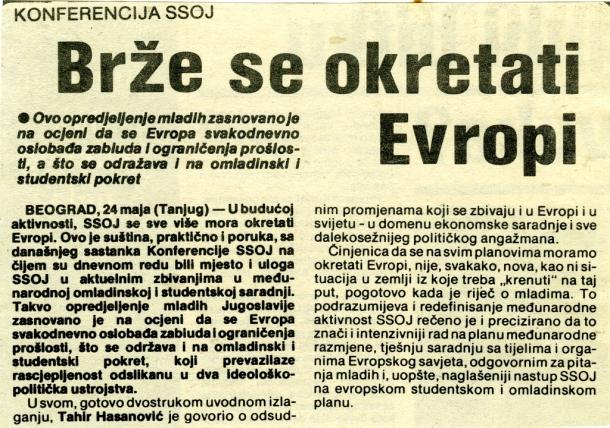 Govor na konferenciji SSOJ, 1989. godina
