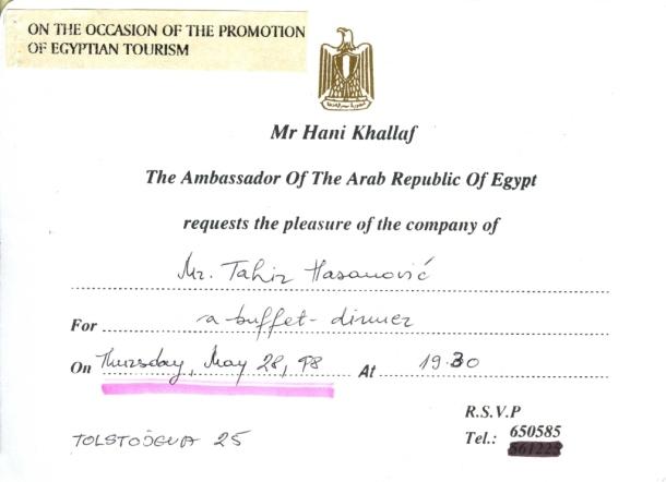 Jedan dan u životu, prijem u ambasadi Egipta