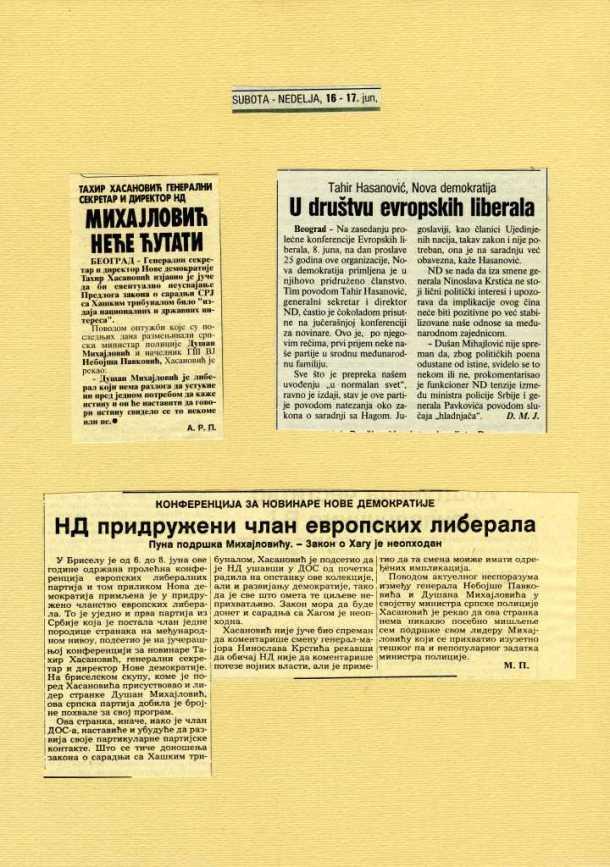 Nova demokratija – liberali Srbije, primljeni u Evropske liberale
