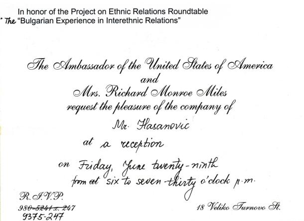Pozivnica na prijem u Američkoj ambasadi u Sofiji