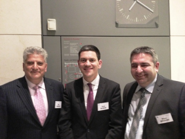 Tahir Hasanovic , David Miliband Shadow Foreign Secretary and Dejan Novakovic