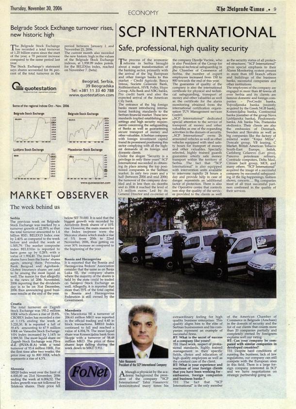 The Belgrade Times, tekst o SCP International