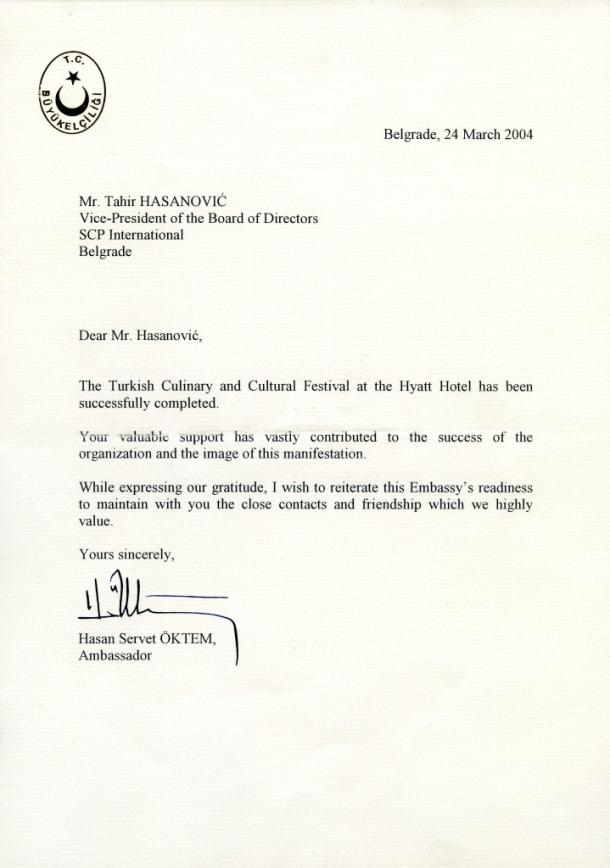 Zahvalnica Turskog ambasadora nakon manifestacije Nedelja Turske