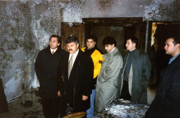 Zapaljene prostorije Nove demokratije u Beogradu 1996. godine