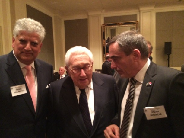 Henry Kissinger and Jovan Kovacic and Tahir Hasanovic, Trilateral Commission members